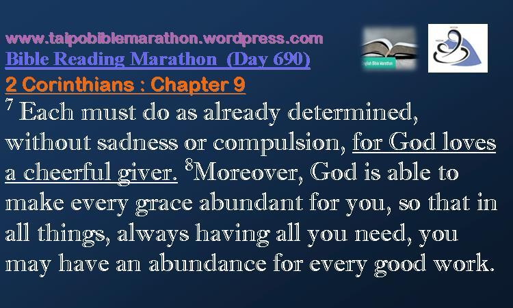 2 Corinthians 9 (Taipo Bible Reading Marathon Day690)